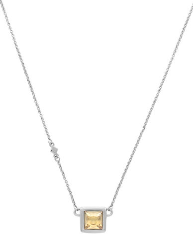 Cole Haan Square Stone Necklace-SILVER-One Size
