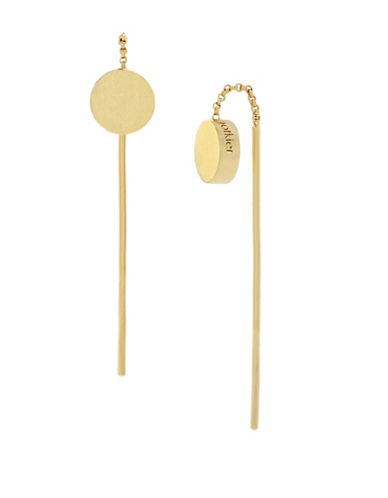 Botkier New York Goldtone Disc Pull-Thru Earrings-GOLD-One Size