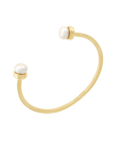 Cole Haan Tali Round Freshwater Pearls Goldplated Open Cuff Bracelet-GOLD-One Size