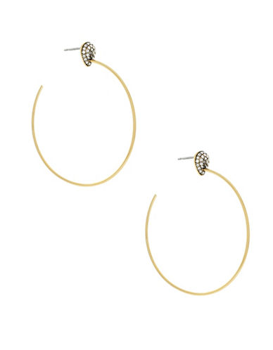 Cole Haan Swarovski Crystal and Goldplated Hoop Earrings-GOLD-One Size
