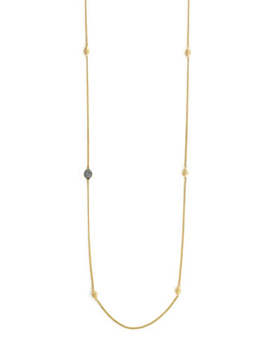 Cole Haan Swarovski Crystal and Goldplated Teardrop Station Necklace-GOLD-One Size