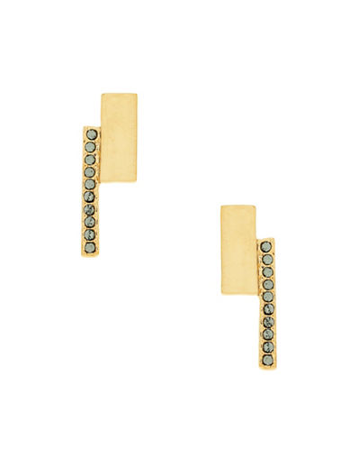 Botkier New York Goldplated Square Pave Bar Drop Earrings-GOLD-One Size