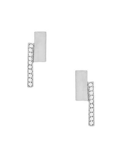Botkier New York Silvertone Square Pave Bar Drop Earrings-SILVER-One Size