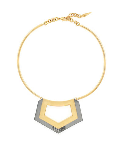 Botkier New York Stone and Hematite Tone Geometric Pendant Necklace-TWO TONE-One Size