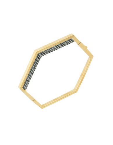 Botkier New York Stone and Hematite Tone Slip-On Geometric Hinge Cuff Bracelet-TWO TONE-One Size