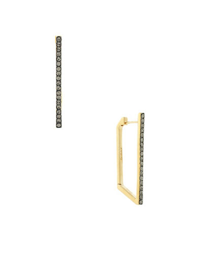 Botkier New York Hematite Tone and Pave Stick Connecting Earrings-TWO TONE-One Size