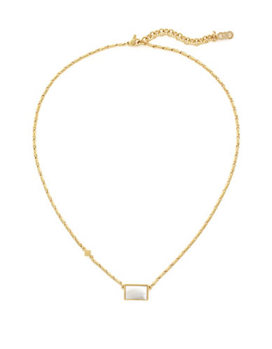 Cole Haan Park Avenue Rectangle Mop Pendant Necklace-GOLD-One Size