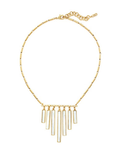 Cole Haan Park Avenue Mother of Pearl Frontal Fringe Necklace-GOLD-One Size