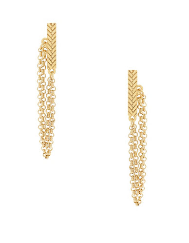 Cole Haan Bar and Chain Drop Earrings-GOLD-One Size