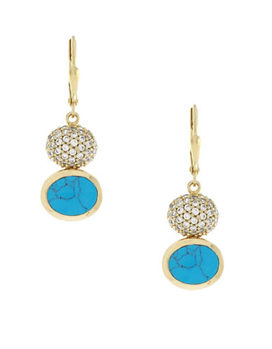 Cole Haan Spring Street Semi-Precious Stone Double Drop Earrings-BLUE-One Size