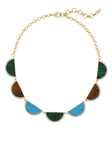 Cole Haan Spring Street Semi-Precious Stone Half Moon Necklace-MULTI-One Size