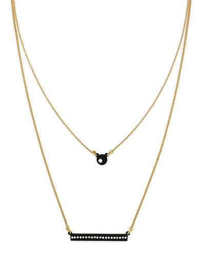 Botkier New York Bar and Ball Double Layer Necklace-BLACK-One Size