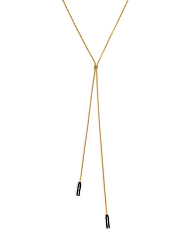 Botkier New York Crystal Studded Chain Lariat Necklace-GOLD-One Size