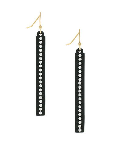 Botkier New York Cubic Zirconia Linear Drop Earrings-BLACK-One Size