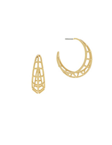 Botkier New York Caged Dimensional Hoop Earrings-GOLD-One Size