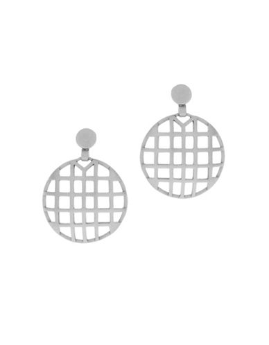 Botkier New York Round Caged Drop Earrings-SILVER-One Size