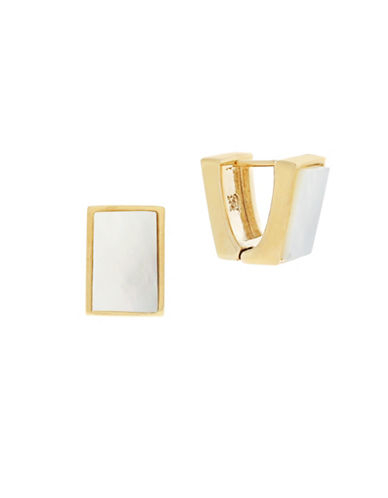Cole Haan Modern Mother-of-Pearl Huggie Earrings-WHITE-One Size