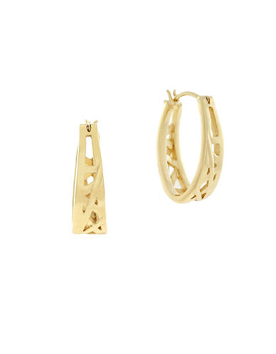 Cole Haan Banded Dimensional Hoop Earrings-GOLD-One Size