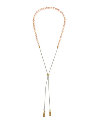 Cole Haan Mott Street Pink Freshwater Pearls Pull Tie Necklace-PINK-One Size