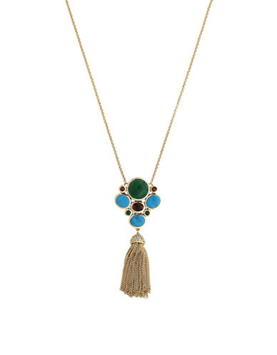 Cole Haan Spring Street Semi-Precious Stone Cluster Pendant Necklace-MULTI-One Size