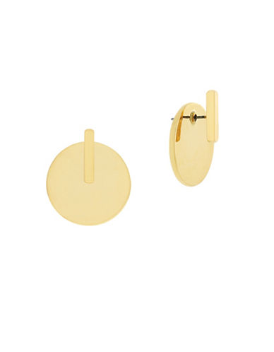 Botkier New York Bar and Disc Front Back Earrings-GOLD-One Size