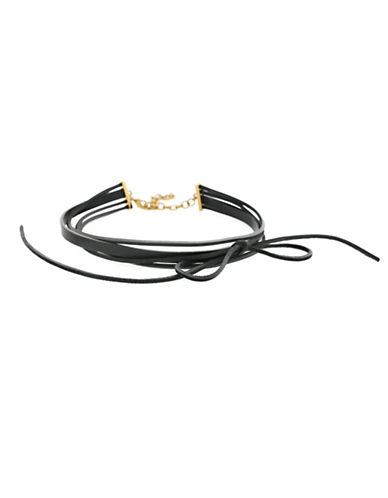 Botkier New York Leather Multi-Row Bow Choker Necklace-BLACK-One Size