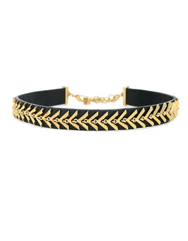 Botkier New York Leather Chevron Choker Necklace-BLACK-One Size