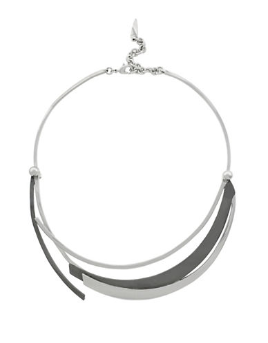 Botkier New York Two-Tone Blades Faux Collar Necklace-GREY-One Size