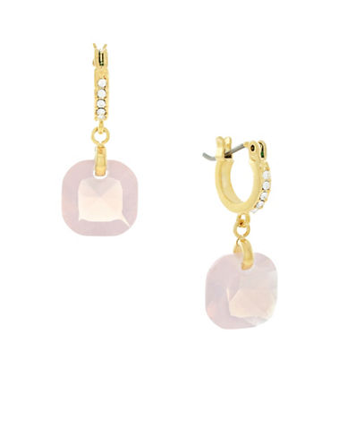 Cole Haan Rose Water Opal Cushion Huggie Earrings-PINK-One Size