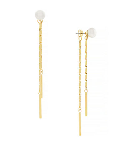 Cole Haan Dew Drops 8MM Freshwater Pearl 10K Gold Drop Earrings-GOLD-One Size