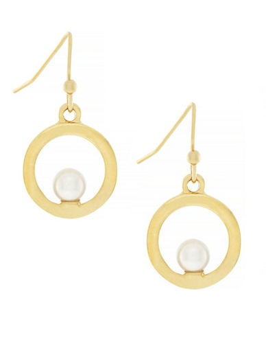 Cole Haan Dew Drops 5MM Freshwater Pearl 10K Gold Floating Drop Earrings-GOLD-One Size