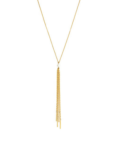 Cole Haan Dew Drops 8MM Freshwater Pearl 10K Gold Fringe Y Necklace-GOLD-One Size