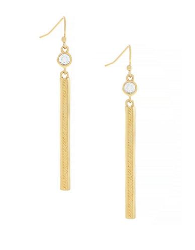 Cole Haan Marine Links 10K Gold Basket Weave Linear Drop Earrings-GOLD-One Size