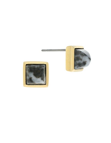 Cole Haan Crystal Stone Square Stud Earrings-GOLD-One Size