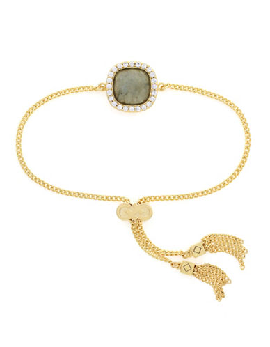 Cole Haan Crystal and Labradorite Square Pull Tie Bracelet-GOLD-One Size