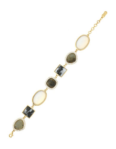 Cole Haan Black Zebra Jasper Labradorite and Crystal Drama Bracelet-GOLD-One Size