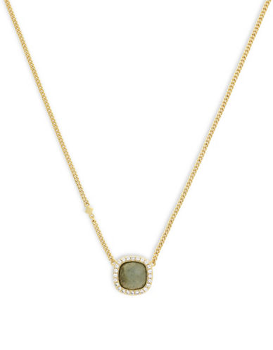 Cole Haan Summer Sunset Square Stone Pendant Necklace-GOLD-One Size