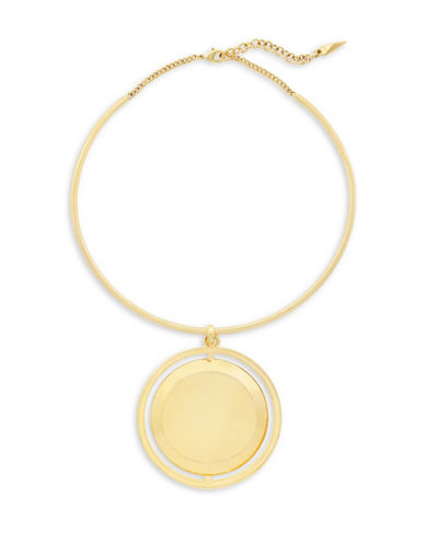 Botkier New York 4/25 Orbital Disc Torqued Collar Necklace-GOLD-One Size