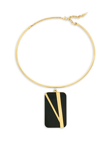 Botkier New York 4/25 Jet and Gold Inlay Flex Wire Collar Necklace-GOLD-One Size