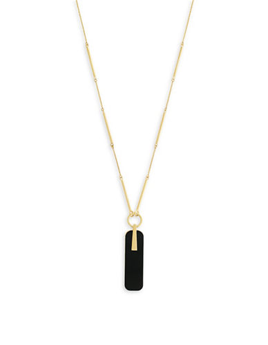 Botkier New York 4/25 Jet and Gold Inlay Rectangular Pendant Y-Necklace-GOLD-One Size