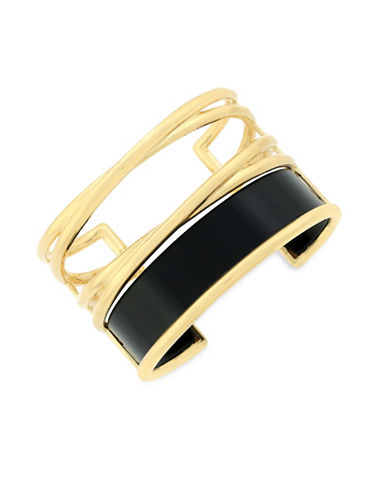 Botkier New York 4/25 Jet and Gold Inlay Statement X Cuff Bracelet-GOLD-One Size