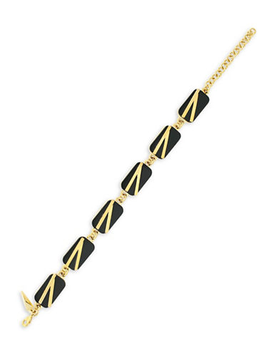 Botkier New York 4/25 Jet and Gold Inlay Line Bracelet-GOLD-One Size