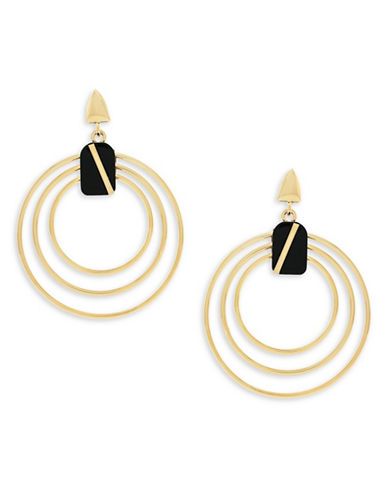 Botkier New York 4/25 Jet and Gold Inlay Multi-Ring Drop Earrings-GOLD-One Size