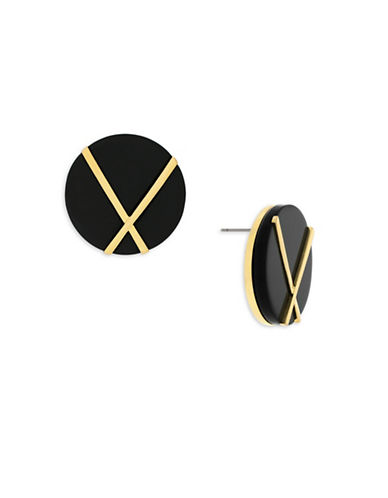 Botkier New York 4/25 Jet and Gold Inlay Statement Stud Earrings-GOLD-One Size