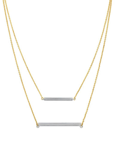 Botkier New York Two-Tone Double Bar Layered Necklace-GREY-One Size