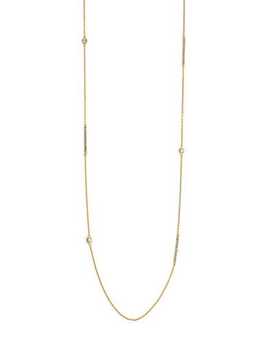 Cole Haan Crystal & goldtone Long Station Single Strand Necklace-GOLD-One Size