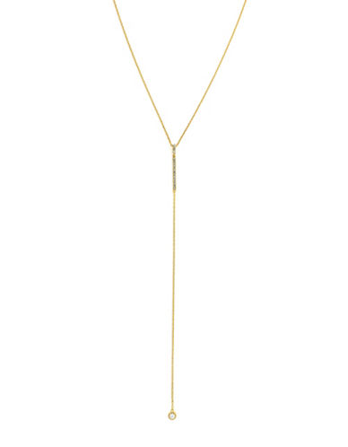 Cole Haan Crystal & goldtone Y Necklace-GOLD-One Size