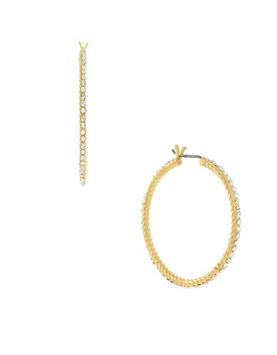 Cole Haan Crystal & goldtone Pavé Hoop Earrings-GOLD-One Size