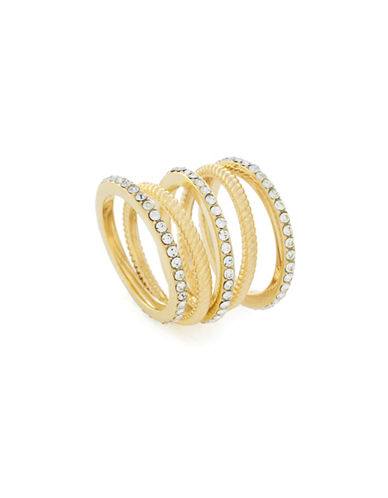 Cole Haan Five-Piece Crystal & goldtone Stacked Ring Set-GOLD-7