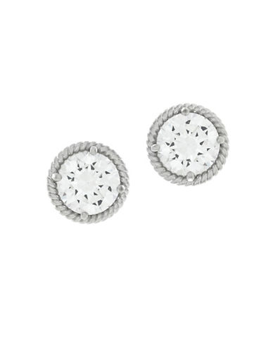 Cole Haan Crystal & silvertone Stud Earrings-SILVER-One Size